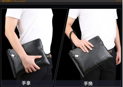 Men Genuine Leather Thin Wristlet Shoulder Bag Clutch Bag  Fashion Casual Business Handbag Small Bag Black  Blue