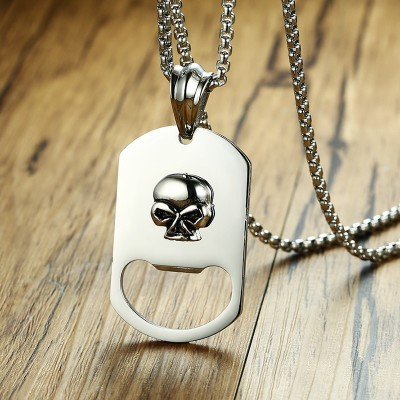 Mens 3D Skull Dog Tag Bottle Opener Pendant Necklace for Men Stainless Steel Gift for Dad Beer Male Jewelry Silver Tone 24 inch