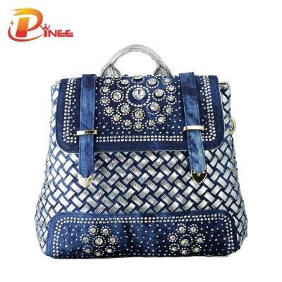 American apparel denim backpack Women 2019 big school bags casual cute denim jean women backpack for travel bags vintage school backpack black blue denim backpack