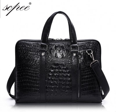100% cowhide leather men's leather handbag crocodile pattern sectional briefcase computer bag Messenger bag