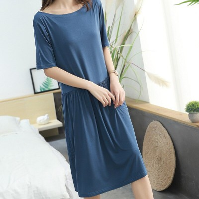 2019 new modal summer dresses women short sleeve pleated sleep dress loose home nightdress sexy nightwear sleepwear lingerie
