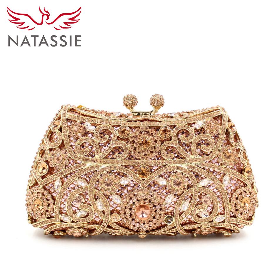 NATASSIE Women Evening Bags Ladies Wedding Party Bag Crystal Gold ... 9569162b9375
