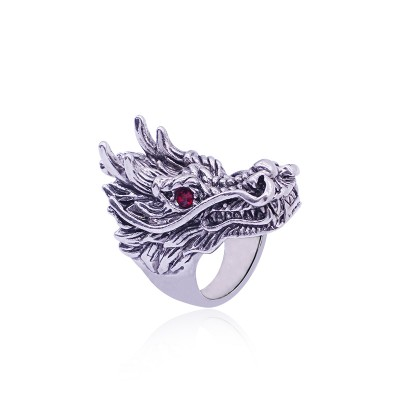 Vintage Punk Domineering Dragon Head Ring Men Red Crystal Eyes Silver Rings Gothic Animal Jewelry anel masculino