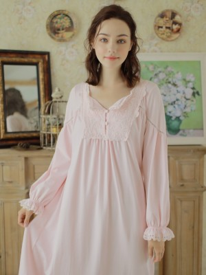 Nightgown Women Sleepwear Cotton Embroidery Nightdress Comfortable Dress Homewear Ladies Long Sleeve V Neck