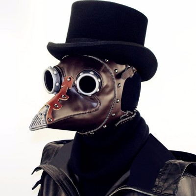 Steampunk Bird Mask Plague Doctor Mask GEARDUKE Steampunk Plague Bird Doctor Mask Brown PU Leather Bird Beak Mask Gothic Retro Halloween Cosplay Masquerade Party Masks