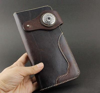 NEW Geniune Cowhide Leather Handmade Japan Style Biker Wallet Purse LW-77