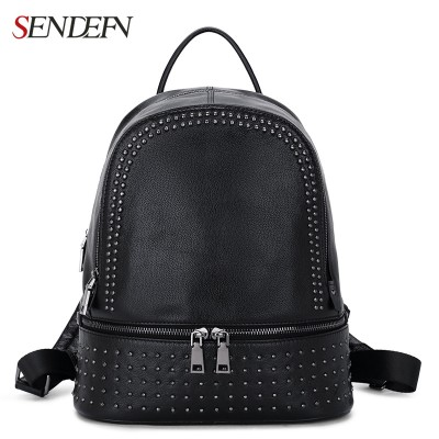 Backpacks for Girls Genuine Leather Backpack Large Capacity Rivet Black Shoulder Bag Women Casual Backpack Teenage Girls School Travel Bags