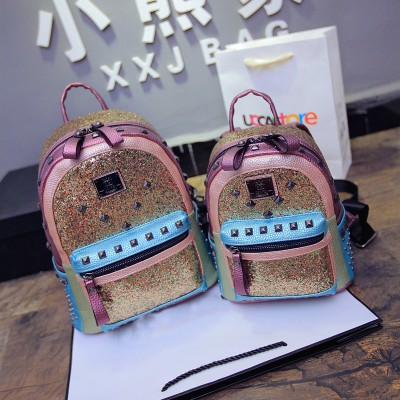Famous brand woman luxury backpack glitter ladies travel bags girls mini backpack rivets design schoolbags bling shiny backpack