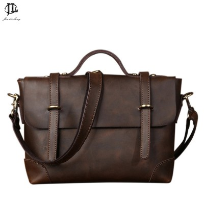 New Retro Crazy Horse Genuine Leather Men's Classic Handbag Messenger Shoulder Bag Travel Business Laptop Bag Briefcase