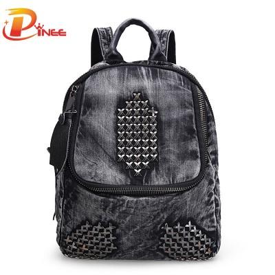 American apparel denim backpack Women's Backpacks Casual Denim Backpack For Women Rivet School Bags For Teenagers Girls Book Bag black blue denim backpack