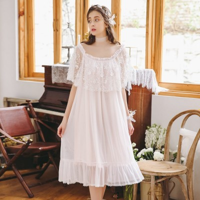 Nightgown Sexy Sleepwear Woman Short sleeve Lace Princess Lace Flower Dress Princess Lady nightdress 2019 New Arrival