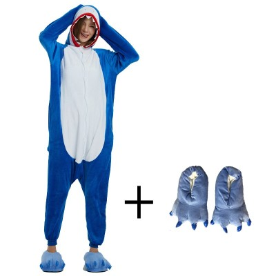 Flannel Shark Kigurumi Animal Costume Adult Onesies Bodysuit Pajamas For Show Men Women Cosplay Carnival Party Pyjamas