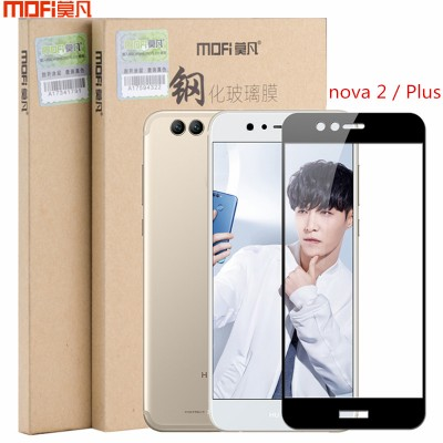 MOFi Case for Huawei nova 2 plus glass Huawei nova 2 glass tempered glass screen protector 9H 2.5D black white safety full cover glass film