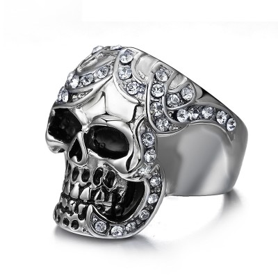 Mens Punk Ring Stainless Steel Cubic Zirconia Inlay Skull Head Gothic Biker Jewellery Male Hiphop Vintage Jewelry anel masculino