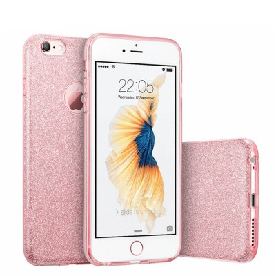 Brand Case for iPhone 6 6s 7 Plus for iPhone 8 X Luxury Cute Girl Lady Bling Rose Gold Pink Slilcone Sparkle Phone Cover Cases