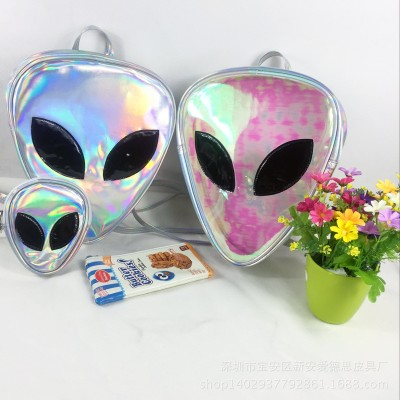 Laser Transparent Backpack Boys 3D Alien ET Head Face Designed Unisex Backpack Unique backpack cool bag Triangle Leisure mini backpack For Girls kids