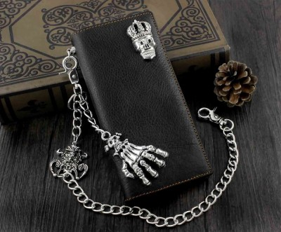 Skull Biker Punk Mens Leather Long Wallet with Jeans Key Chain