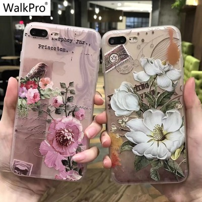Phone Cases For Iphone 7 6 6s Plus case cover Silicone Soft TPU Flower 3D Relief painting For iPhone 8 flower capa WalkPro