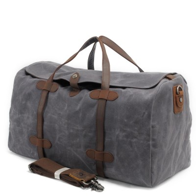 Military Vintage Canvas Duffel Bags Real Leather Weekend Bag Mens Travel Bags Luggage Designer Brand High Quality Shoulder Bags