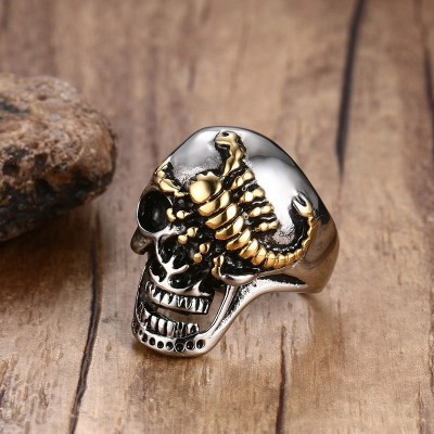 Mens Punk Skull Gold Scorpions Gothic Rings for Male Stainless Steel Vintage Biker Men Jewelry Halloween Day Jewelry