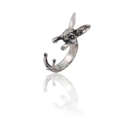 Vintage Punk Rabbit Rings For Women Hip Hop Silver Bunny Animal Ring Men Gothic Unisex Opening Ring Jewelry Anillos Mujer