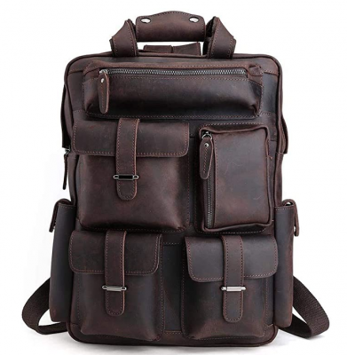Original Brand Dark Brown Mens Retro Full Grain Genuine Leather 17 Inch Laptop Backpack Multi Pockets Large Capacity Shoulder Bag Travel Bag