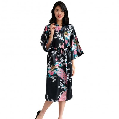 Women Robe Summer Kimono Bathrobe Gown Female Sexy Sleepwear Nightgown Casual Bride Bridesmaid Wedding Robe Noble Nightwear