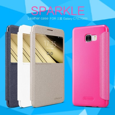 For Samsung Galaxy C7 phone Case Nillkin Sparkle Series Super Thin flip Cover PU leather Case For Samsung Galaxy C7 C7000