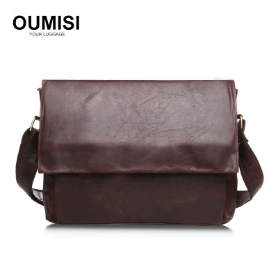 Vintage casual college style men's satchel bag crazy horse leather messenger bag man shoulder sling Bag designer laptops bag B96