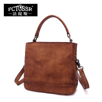 Women Bags 2017 Vintage Genuine Leather Top-Handle Bag Casual Messenger Bag Handmade Shoulder Bag Large Capacity Handbag