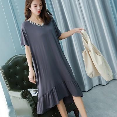 2019 summer new Ruffled dress women home wear cotton V-neck nightdress long dressV neck soft comfortable dress sleepwear