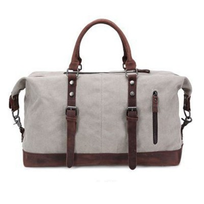 High Quality Men Canvas Crazy Horse Leather Messenger Bags Vintage Casual Travel Duffle Practical Large Travel Bag X007