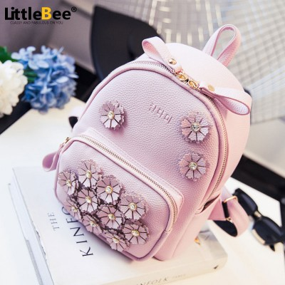 new summer flower mini bag backpack bag lady diamond Korean female college wind small backpack