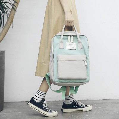 2019 New Women Canvas Backpacks Candy Color Waterproof  School Bags for Teenagers Girls Laptop Backpacks Patchwork Backpack