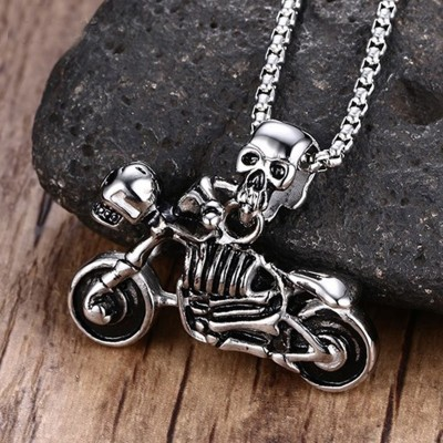 Mens Jewelry Vintage Punk Skeleton Necklace Gothic Biker Skull Motorcycle Stainless Steel Pendant Necklace Halloween Gift