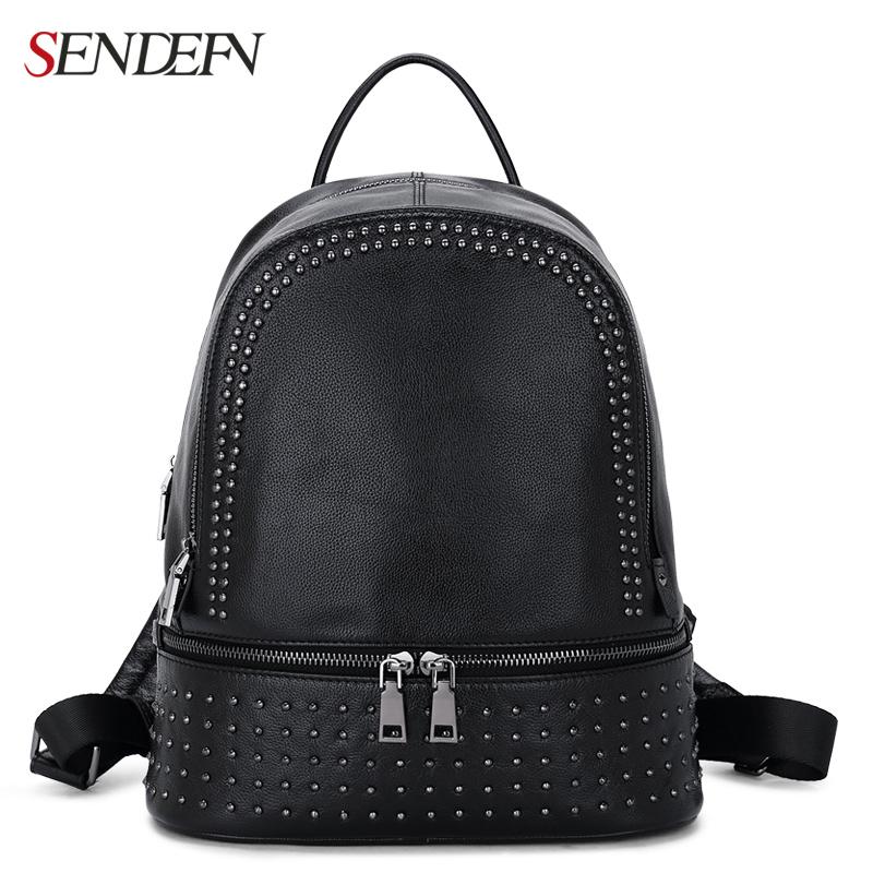 ed760b54ae Backpacks for Girls Genuine Leather Backpack Large Capacity Rivet Black Shoulder  Bag Women Casual Backpack Teenage Girls School Travel Bags