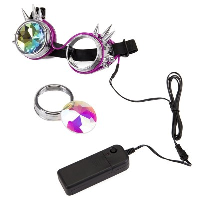 FLORATA Steampunk Goggles Welding Cyber Rivet Illuminate Punk Goggles Retro Gothic kaleidoscope Colorful Lens Cosplay Eyewear