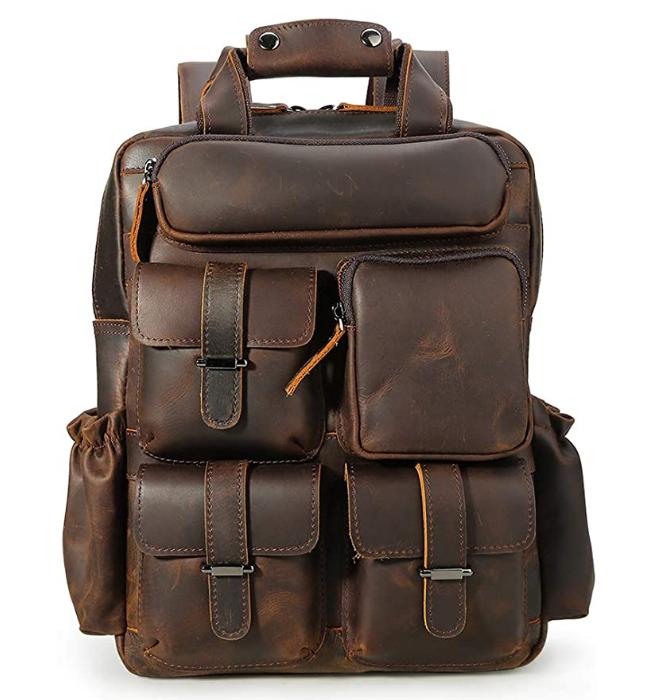 Original Brand Dark Brown Vintage Men's Genuine Crazy Horse Leather 14 Inch Multi Pockets Laptop Backpack Shoulder Bag Travel Bag