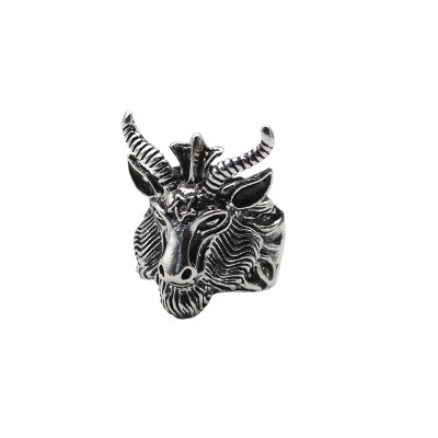 Punk Men Devil Satan Hexagram Black Goat Sheep Ring Titanium Steel Man Biker Rings Animal Jewelry Dropshipping Anel Masculino