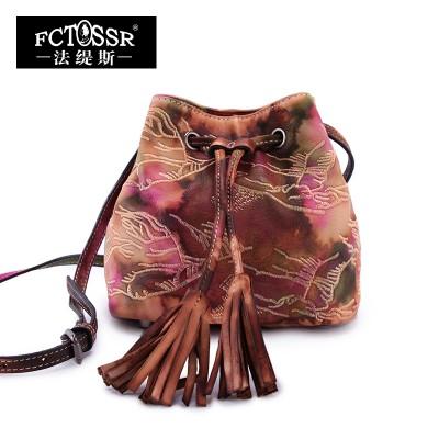 Women Bags 2019 Original Vintage Embroidery Handmade Bucket Bag Genuine Leather Shoulder Bag Tassel