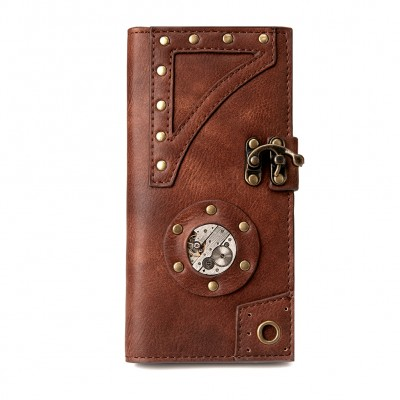 Steampunk Brown Mens Womens Wallet Leather Movement Purses Vintage Retro Medium and long hand wallet Change wallet