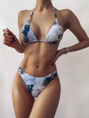 Sexy Swimwear Women Marble Print  Bikini Set Bathing Suit Beachwear Push Up Swimming Swimwear Sexy Bandage Swimsuit Bikini