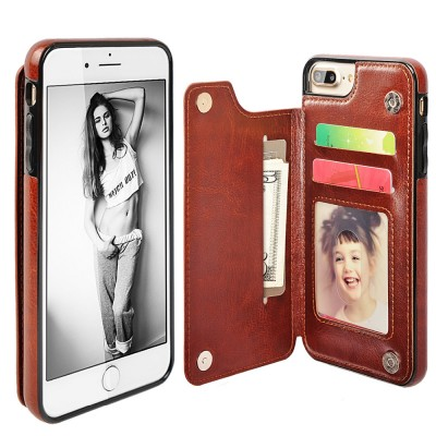 LANCASE for iPhone 7 Case Funda Leather Luxury Wallet Flip Card Slots Holder Stand Case Cover for iPhone 7 Plus Magnetic Shell