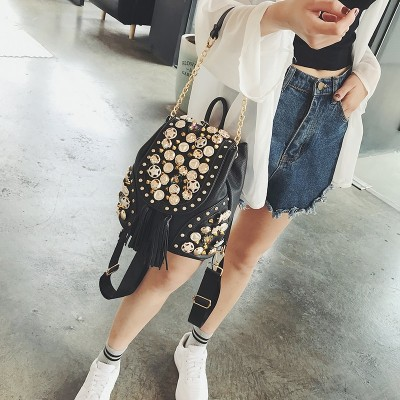 2019 New Fashion Brand Women Bag PU leather Female Hand bag Shoulder bag Diamonds Tassel Small School Backpack For Girls