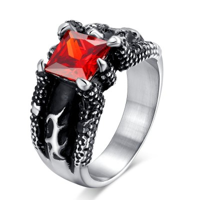 Mprainbow Mens Stainless Steel Vintage Gorgeous Red CZ with Punk Hiphop Style Gothic Dragon Claw Ring for Male Boys Jewelry
