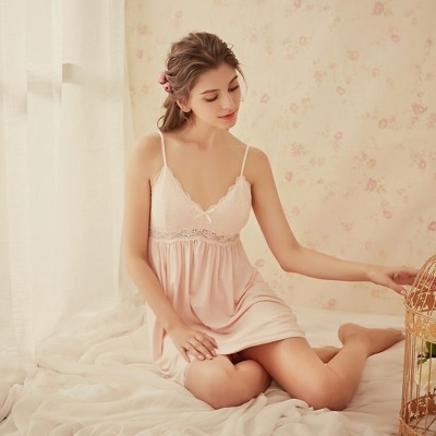 Summer Loose Lace Sling Dress Nightdress Sleepwear Women Sleepwear V Neck Strap Nighties