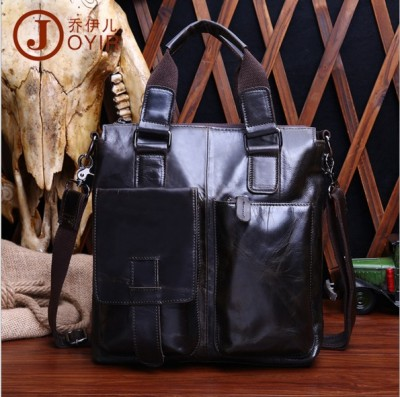 Luxury Brand Vintage High Quality Cow Leather Totes Bag Men's Oil Wax Leather Handbags & Crossbody Bags Casual Tote Brown B259