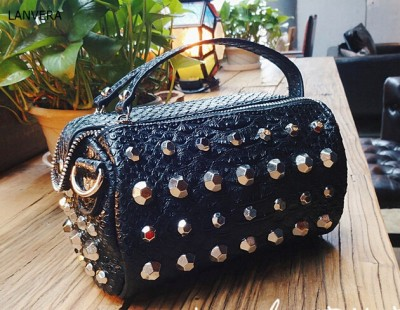 Sexy Bags factory customized women sexy snakeskin bags rivets embellished fashion lady shoulder handbags