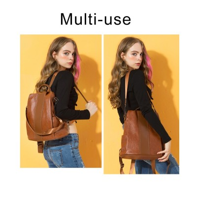Fashion Quality Leather Anti-thief Women Backpack Large Capacity Hair Ball School Bag for Teenager girls Male Travel Bags