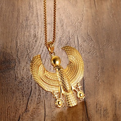 Men Necklaces Egyptian Horus Bird Falcon Holding Ankh Pendant Gold Color Steel Fashion Hiphop Costume Jewelry Choker 24Chain
